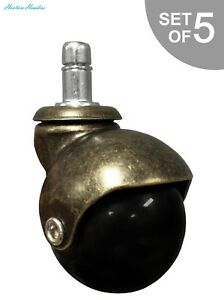 2 Antique Brass Ball Caster Wheel For Office Executive Gaming Chairs W 7 16