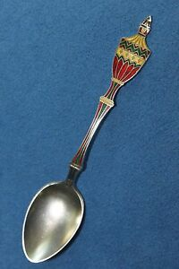 Vintage Enamel Urn Sterling Silver Gilt Gold Wash 4 3 8 Danish Spoon Denmark