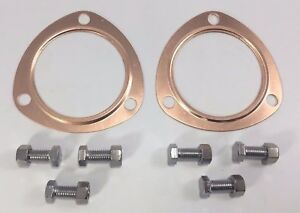 Pair 2 3 Reusable Copper Header Collector Exhaust Gaskets Bolt Kit