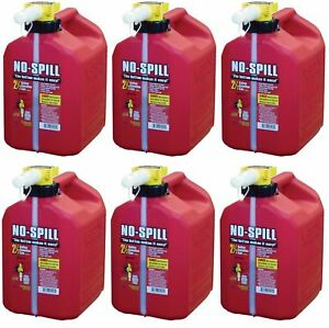 Lot Of 6 No spill Ns 1405 2 1 2 gallon Poly Gas Can carb Compliant Red 2 5 Gal