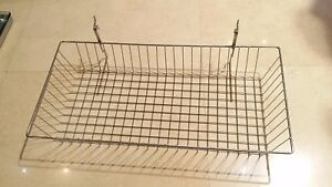 Lot Of 6 Chrome Retail Wire Basket For Slatwall grid pegboard 24 w X 12 d X 4 h