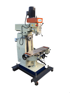 Horizontal Vertical Mill With Custom Mobile Base w 4 Levelers And Pads