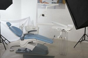 Tuojian Uswc Dental Unit Chair A1 Hard Leather Skyblue 4 Holes Fast Shipping Us