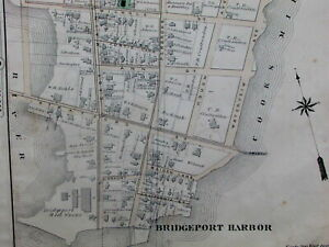 Bridgeport Connecticut Harbor 1876 Map Cooks Mill Pond River 6th Ward Detailed