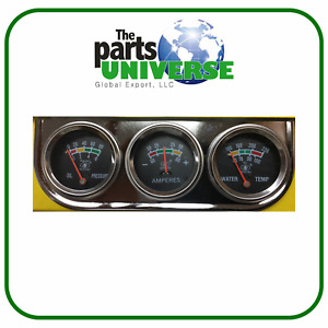 Illuminated Gauge Set Gauges Kit Universal Oil Pressure Water Volt Triple 3