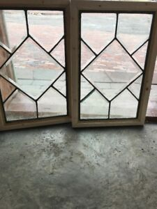 Matched Pair Antique All Belval Glass Windows 14 25 X 21