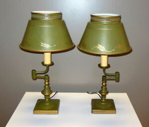 Pr Vintage Green Tole Metal Table Lamps Swing Arms Hand Painted Original Shades