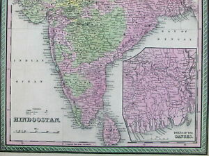 Hindoostan British India Ganges Delta Tartary Colonial Territories 1849 Old Map