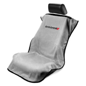 1 Grey Seat Armour W New Dodge Logo Front Seat Cover Towel Protector
