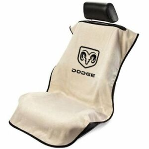 2 Tan Seat Armour W New Dodge Logo Front Seat Covers Towel Protector