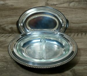 Antique Silver Plate Covered Serving Dish With Divided Glass Insert Tableware