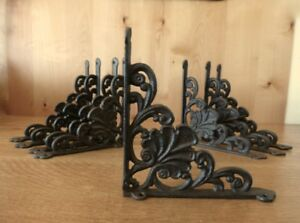 8 Large Brown 8 Shelf Brackets Wall Antique Style Rustic Cast Iron Shell Design