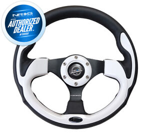 New Nrg Pilota Steering Wheel 320mm Black Leather Accent White Inserts Rst 001wt