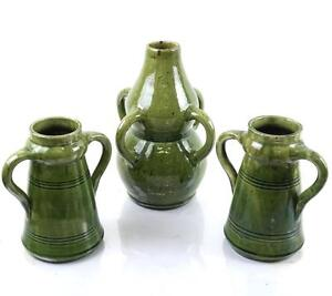 Lot 3 Boch Belgium Green Glazed Garniture Decor Mid 20th Century Modern