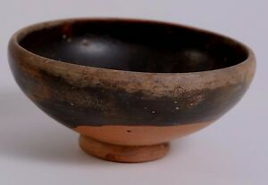 Fine Ancient Greece Greek Apulian Blackware Pottery Pedestal Bowl Ca 350 B C