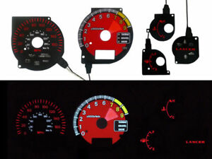 03 06 Mitsubishi Lancer Evo Evolution 7 8 9 Ferrari Style Red Glow Gauge Face