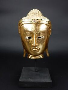 Intricately Carved Gilt Wood Thai Buddha Bust With Stone Laced Crown 14 5