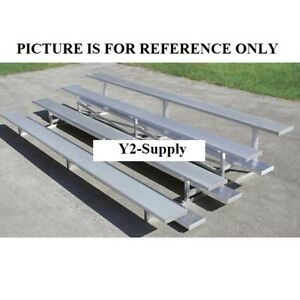 New 4 Row Low Rise Aluminum Bleacher 7 1 2 Wide Single Footboard
