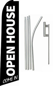 Swooper Feather Tall Flag Kit 15ft Real Estate open House With Spike And Pole