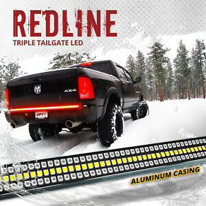 Opt7 Redline 48 Triple Led Tailgate Light Bar Sequential Turn Signal Red Brake