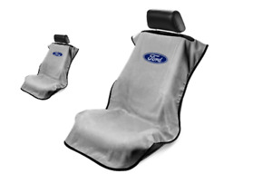 Pair 2 Grey Ford Oval Emblem Universal Seat Armour Towel Protector Seat Covers