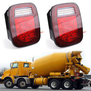 2x 12v Trailer Truck Led Stud Mount Rv Rear Tail Light Turn Signal Reverse Brake