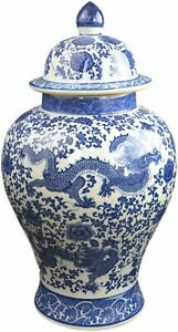 20 Classic Blue And White Porcelain Floral Temple Jar Vase China Ming Style
