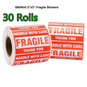 30 Roll 500 roll 2 X 3 Fragile Sticker Shipping Label Handle With Care Thank You