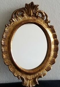 Oval Italy Gold Carved Wood Wall Mirror Guesso Gilt Vintage Italian