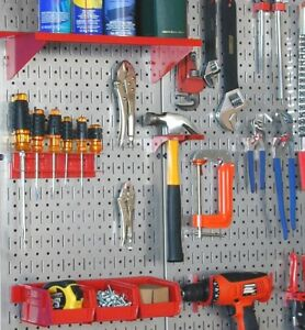 Pegboard Tool Organizer Wall Mount Garage Storage Metal Steel Board Kit 2 Pack