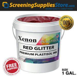 Xenon Red Glitter Plastisol Ink For Silk Screen Printing 1 Gallon