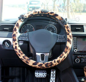 Ci033 Lace Leopard Universal Auto Car Steering Wheel Cover 1pc