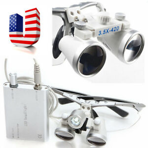 Dental 3 5x 420mm Binocular Loupes Optical Glass led Head Lamp Light Surgery Usa