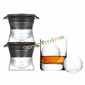 Ice Ball Cube Maker Sphere Mold 2.5 INCH Round Jelly Mould kit Cocktail Whiskey