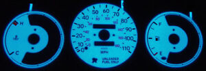 93 97 Toyota Corolla No Tach Blue Green Glow Gauge Faces Overlay New