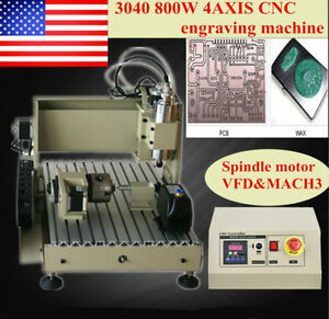 4axis 3040 Desktop Cnc Router Engraver Engraving Milling Machine 800w Vfd Cutter