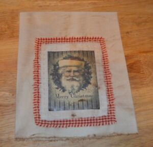 Stained Muslin Decorative Christmas Dish Towel Kitchen Primitive Santa Claus
