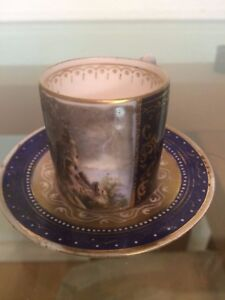 Royal Vienna Hand Painted Cobalt Scenes Cup Saucer