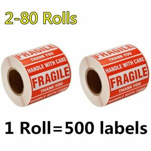 2 80 Rolls 2 X 3 Fragile Sticker Handle With Care Thank You Labels Free Shipping