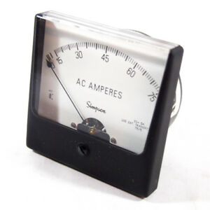 Simpson 35076 Analog Panel Meter Ac Current 0 75 Ac A