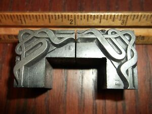 2pc Lot Antique 72pt Finale Corner Ornaments Foundry Type Letterpress Printing