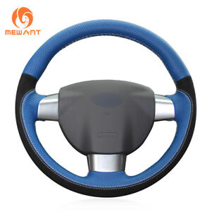 Diy Top Black Blue Leather Steering Wheel Cover Wrap For Ford Focus 2 2005 2011