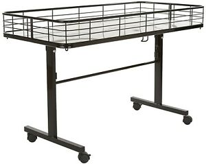 Folding Dump Table Retail Merchandiser Rolling Display Bin Basket Black New
