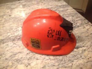 Vintage Bethlehem Steel Hard Hat Mine Helmet V Gard 1961 Uncleaned Orange