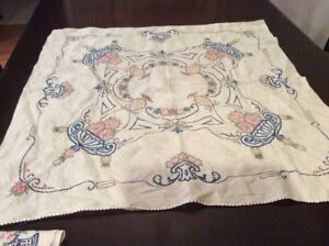Vintage Hand Embroidered Tablecloth 33 X 32