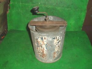Vtg Antique 1912 Acme Ice Cream Maker Metal Pail Hand Crank Shelf Sitter Display