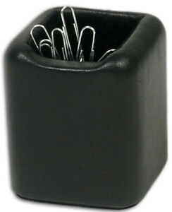 A1089 classic black leather paper clip holder