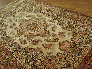 Antique Handwoven Soft Persian Isfahan Rug Wool 4 6 X7 1930s Gold
