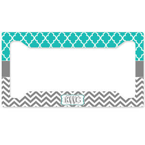 Personalized Monogrammed License Plate Frame Rear Teal Lattice Chevron Monogram