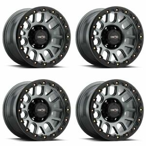 Set 4 18 Vision 111 Nemesis Gunmetal Wheels 18x9 6x5 5 0mm Chevy Gmc 6 Lug Rims